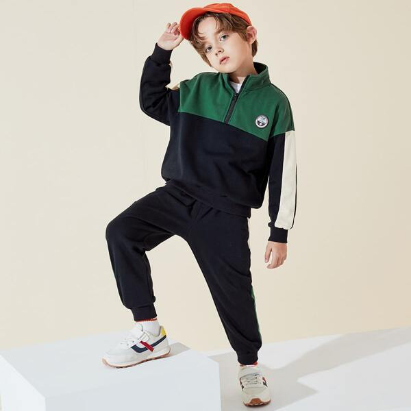 Boys Half Zip Patch Detail Drop Shoulder Colorblock Sweatshirt & Sweatpants, Multicolor