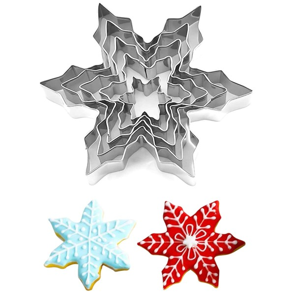 5pcs Snowflake Shaped Biscuit Mold, Silver