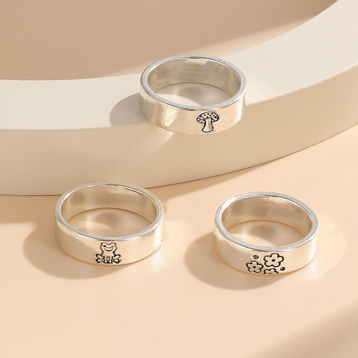 3pcs Frog & Mushroom Decor Ring