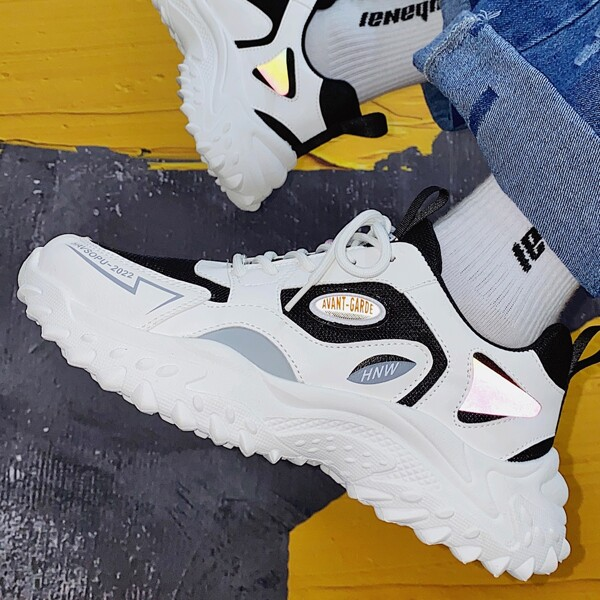 Men Letter Patch Lace-up Front Chunky Sneakers, White
