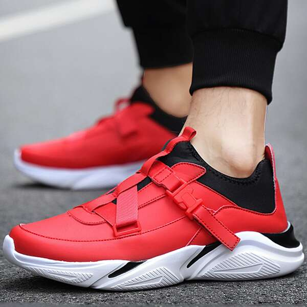 Men Colorblock Lace-up Front Chunky Sneakers, Red