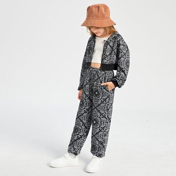 Girls Paisley Scarf Print Zip Up Hoodie & Pants, Black and white
