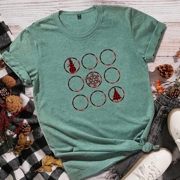Plus Christmas Print Crew Neck Tee, Green