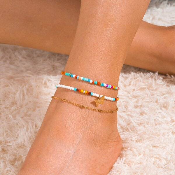 3pcs Beaded Anklet, Multicolor