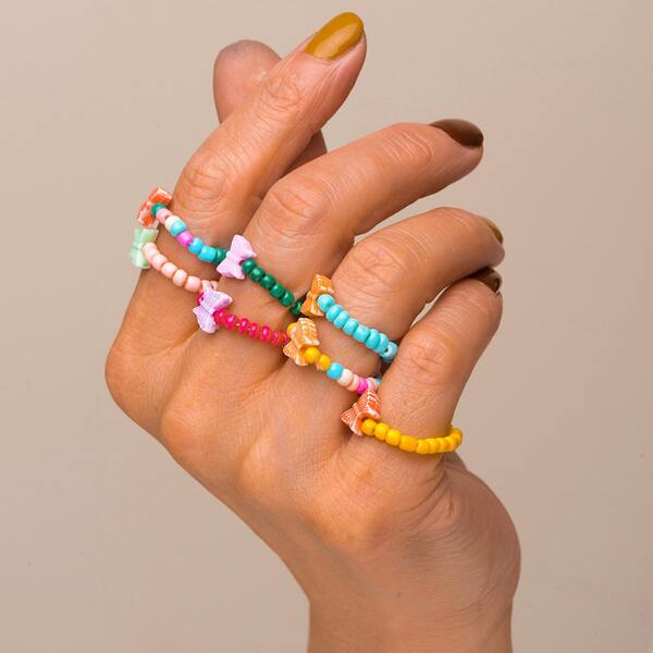 7pcs Beaded Ring, Multicolor