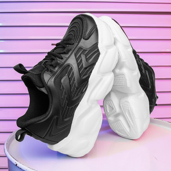 Minimalist Mesh Panel Chunky Sneakers, Black and white