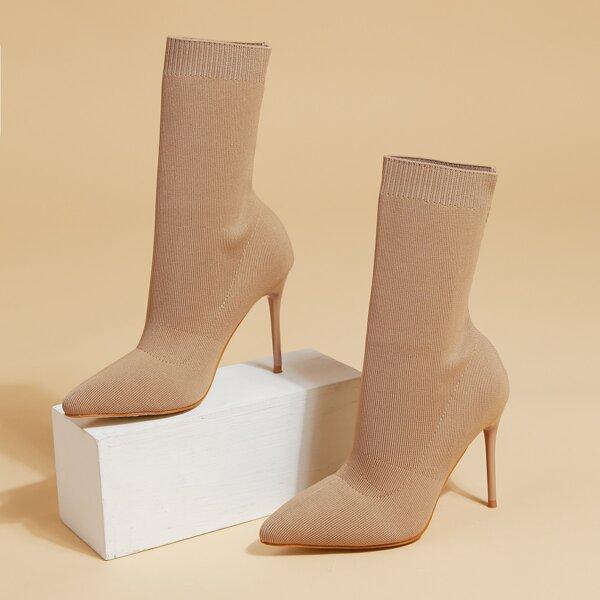 Minimalist Stiletto Heeled Knit Boots, Apricot
