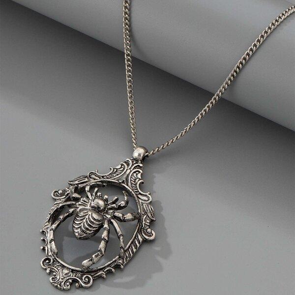 Spider Detail Pendant Necklace, Antique silver