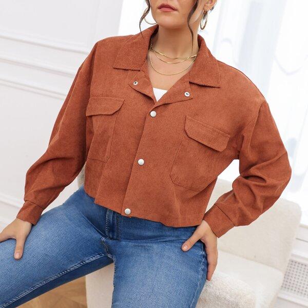 Plus Drop Shoulder Flap Pocket Corduroy Jacket, Coffee brown