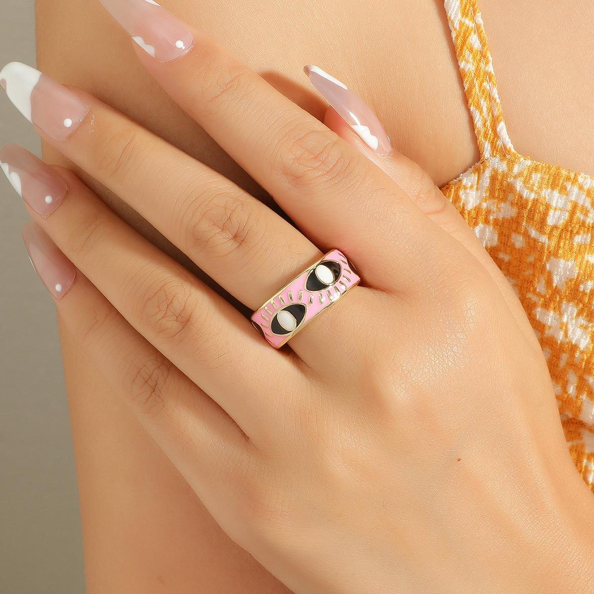 Открытое кольцо 18K Позолоченный с узором глаз