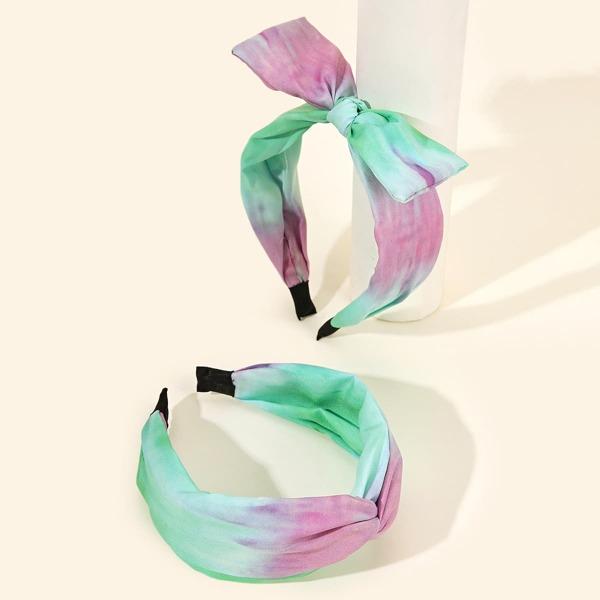 2pcs Tie Dye Bow Decor Headband, Multicolor