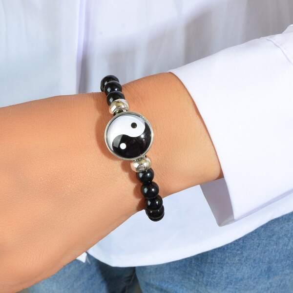 Yin & Yang Detail Beaded Bracelet, Black