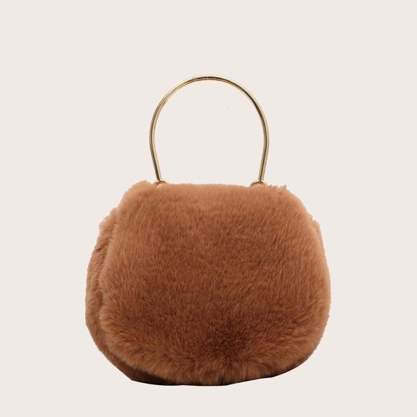 Minimalist Flap Fluffy Satchel Bag, Brown