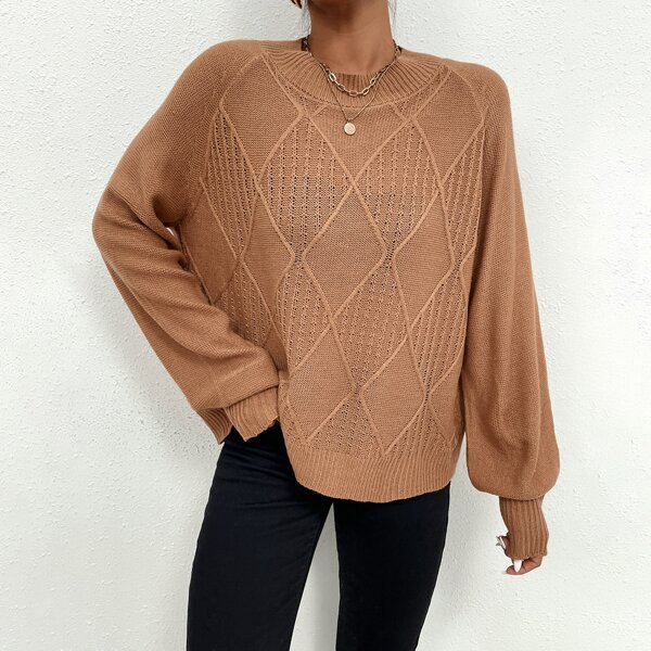 Raglan Sleeve Pointelle and Ribbed Knit Sweater, Coral orange