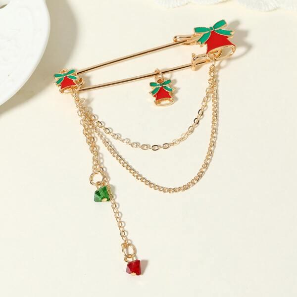 Christmas Bell Brooch, Multicolor