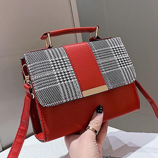 Two Tone Flap Square Bag, Multicolor