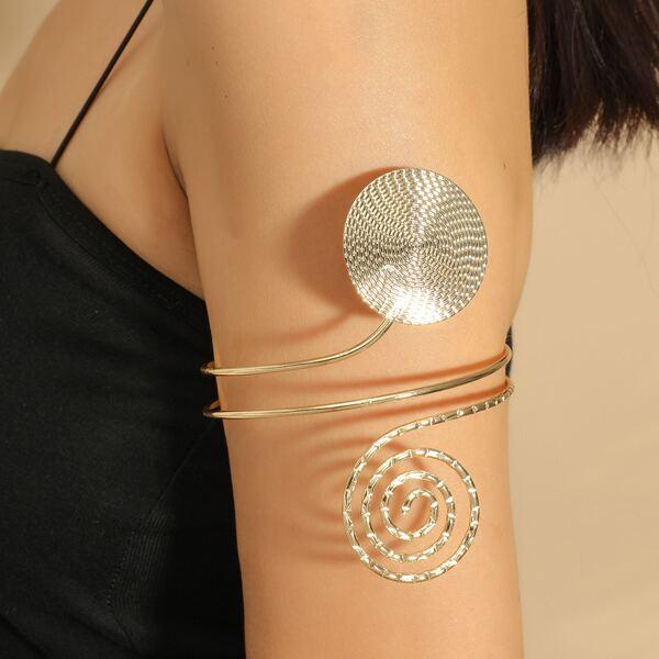 1pc Geometric Arm Cuff, Gold