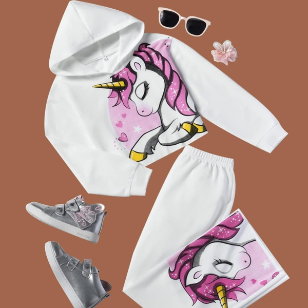 Girls Unicorn Print Hoodie With Pants, White