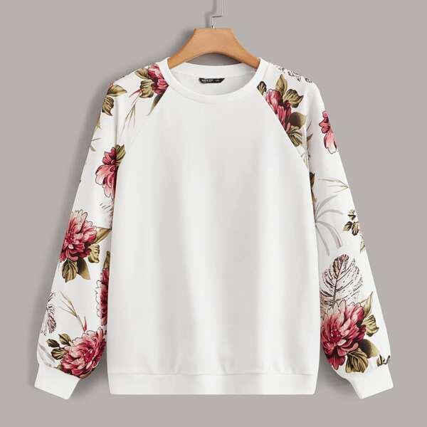 Plus Floral Print Raglan Sleeve Pullover, White