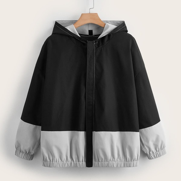 Plus Two Tone Drop Shoulder Hooded Jacket, Multicolor