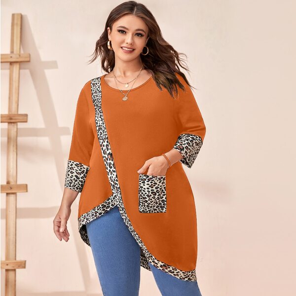 Plus Leopard Print Asymmetrical Hem Tee, Orange
