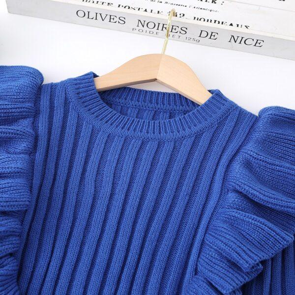 Girls Ruffle Trim Ribbed Knit Sweater, Blue