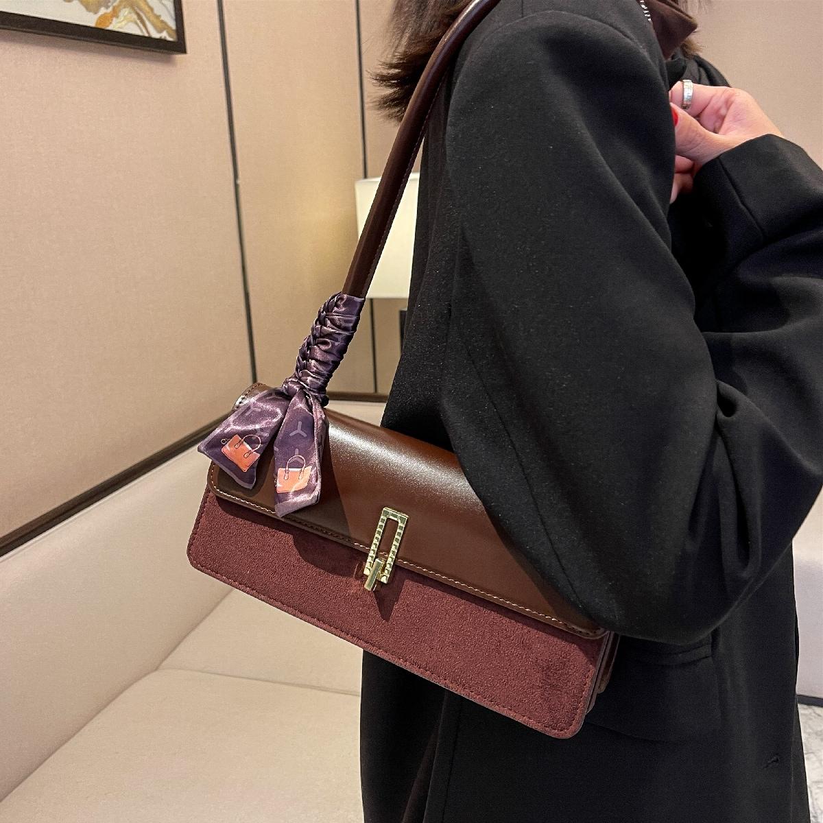 Scarf Decor Flap Baguette Bag
