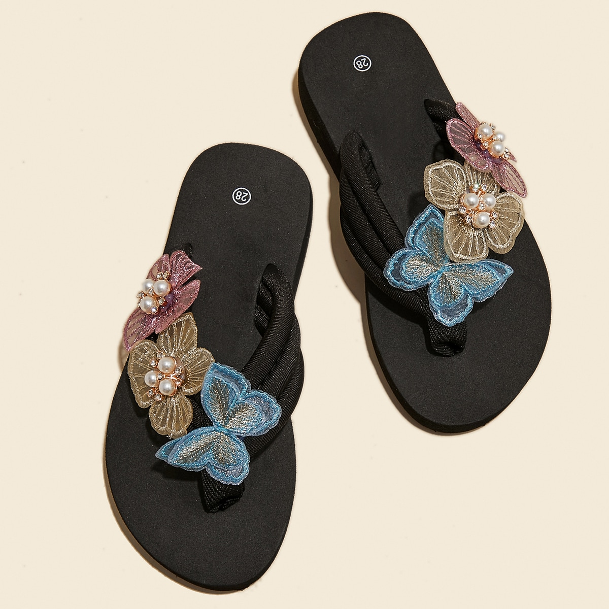 Girls Butterfly Appliques Flip Flops