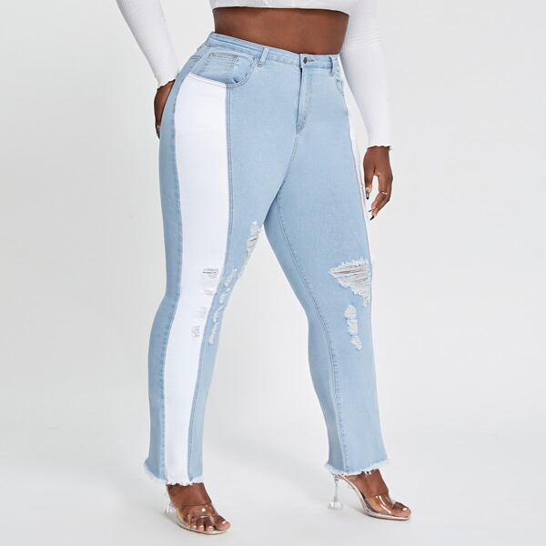 Plus Color Block Ripped Raw Hem Jeans, Light wash