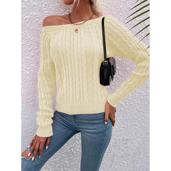 Solid Raglan Sleeve Cable Knit Sweater, Beige