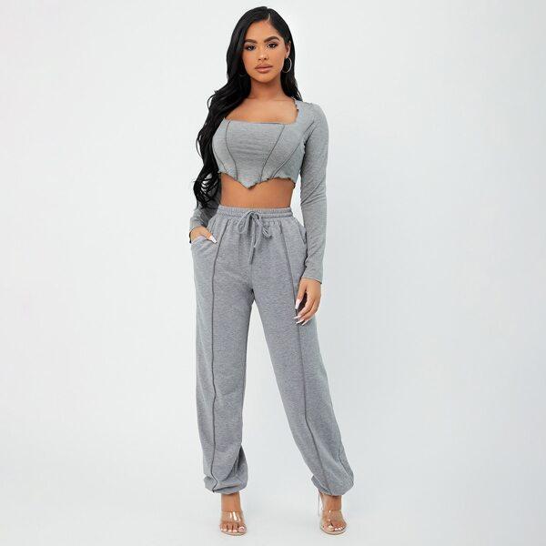 Seam Detail Hanky Hem Crop Top & Sweatpants, Grey