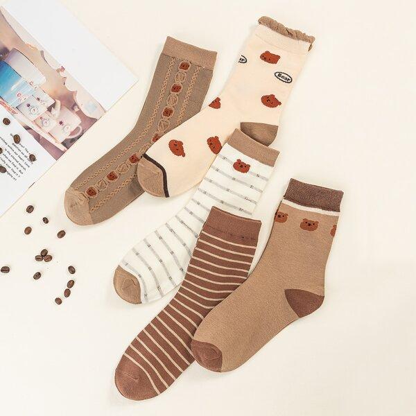 5pairs Bear Print Crew Socks, Multicolor