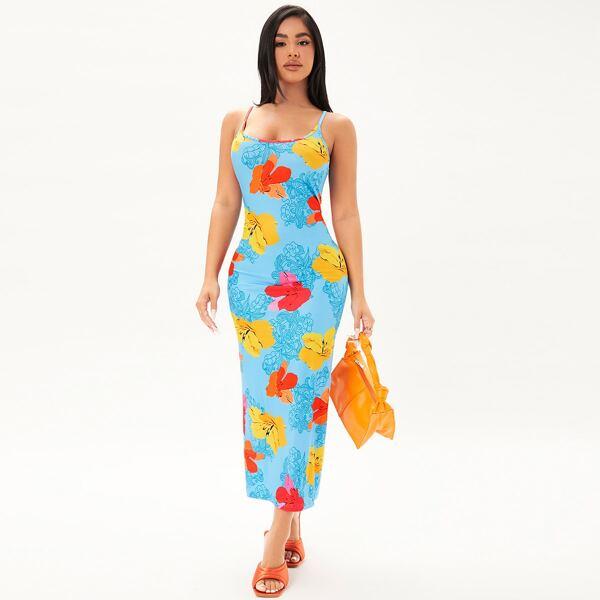 Floral Print Cami Dress, Multicolor