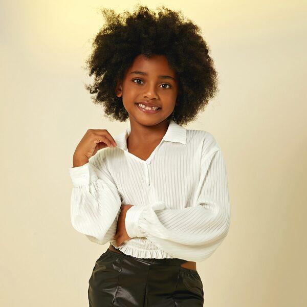 Girls Drop Shoulder Shirred Frill Trim Crop Blouse, White