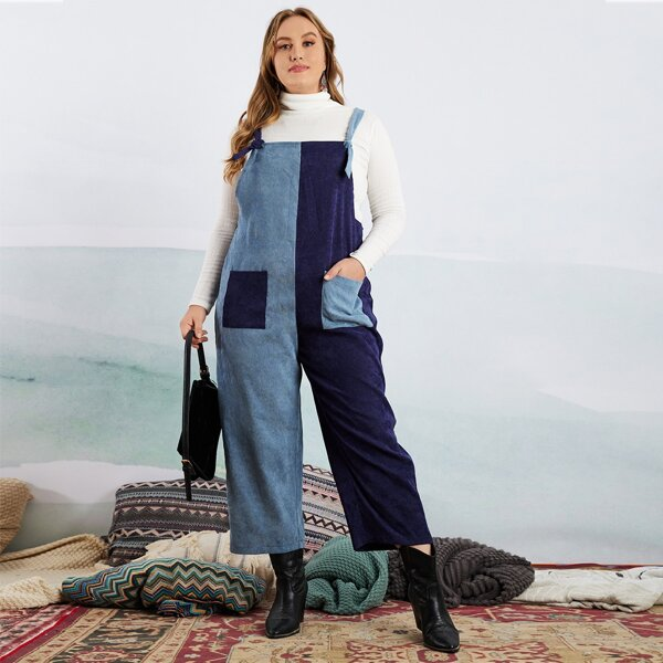 Plus Color Block Patched Pocket Overall Jumpsuit Without Sweater, Blue
