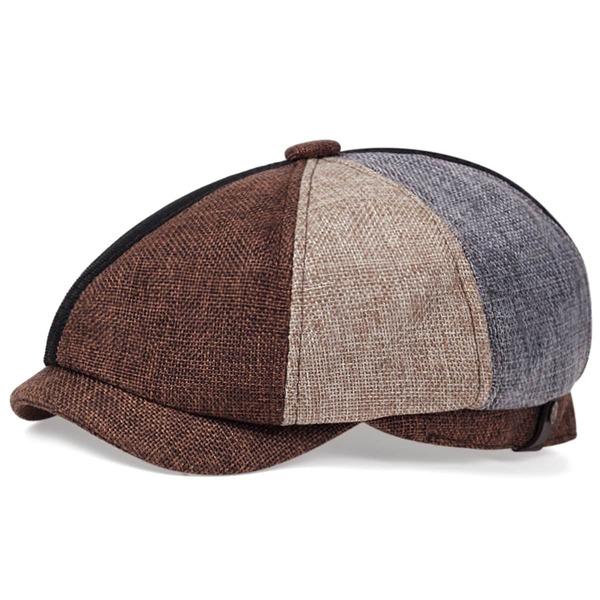 Men Colorblock Baker Boy Hat, Multicolor