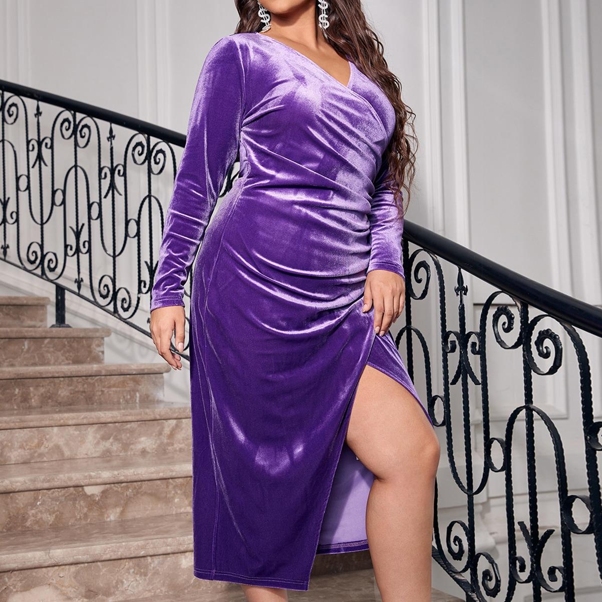 размера плюс Платье с v-образным вырезом с запахом из бархата