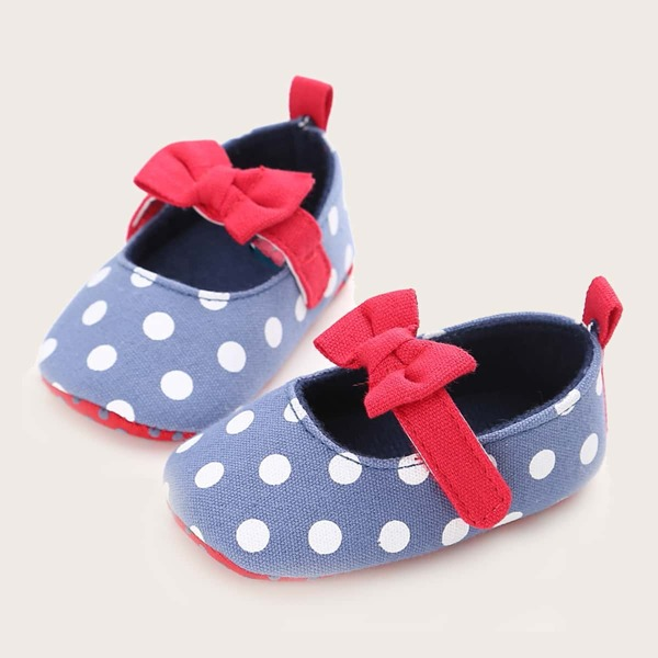 Baby Bow Decor Polka Dot Pattern Flats, Blue