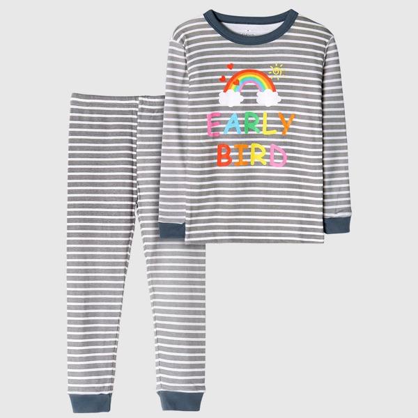 Girls Striped Letter & Rainbow Print PJ Set, Multicolor