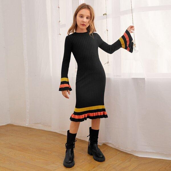 Girls Striped Ruffle Hem Flounce Sleeve Sweater Dress, Black