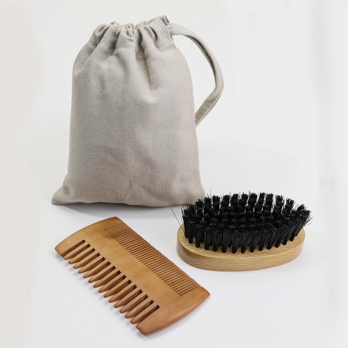 1pc Beard Brush & 1pc Beard Comb & 1pc Storage Bag