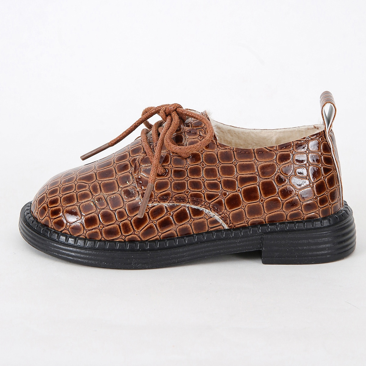 Boys Crocodile Embossed Lace Up Front Oxfords
