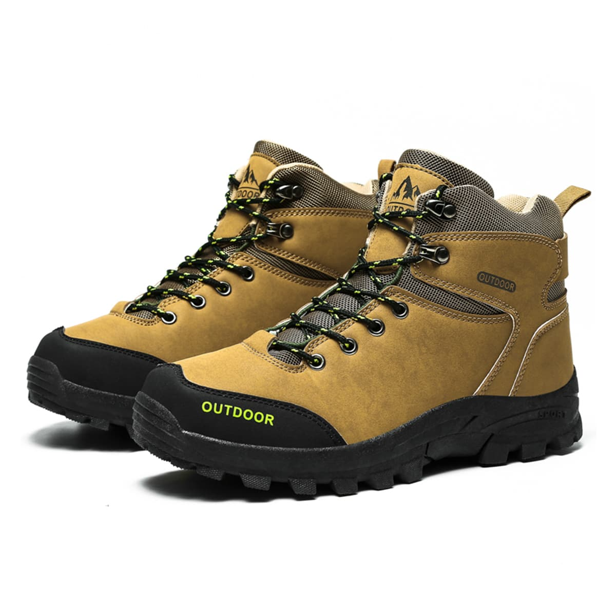 Men Colorblock Letter Graphic Hiking Boots