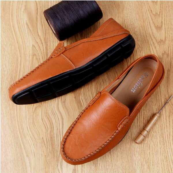 Men Stitch Detail Flat Loafers, Brown