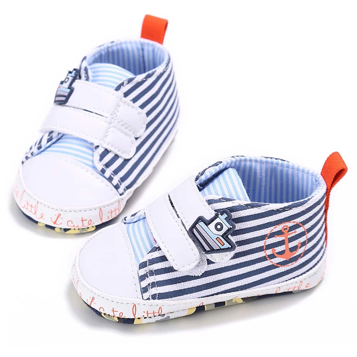 Baby Striped Pattern Velcro Strap Flats