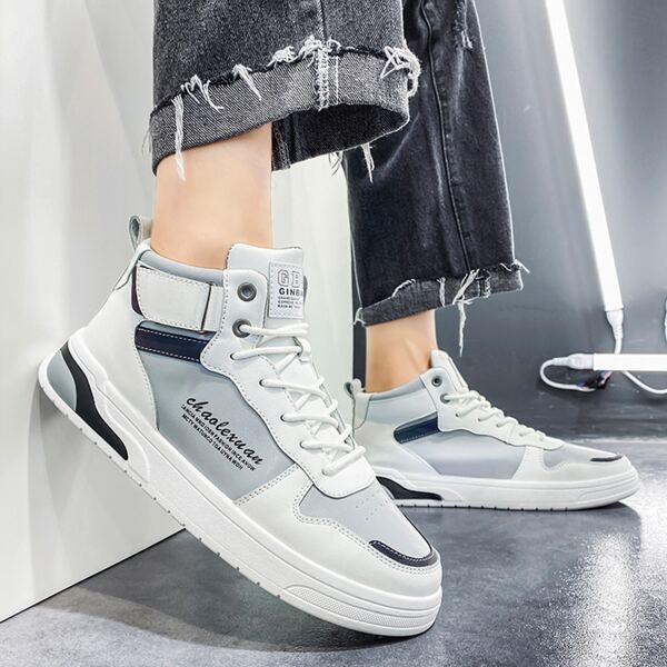 Men Letter Graphic Skate Shoes, White