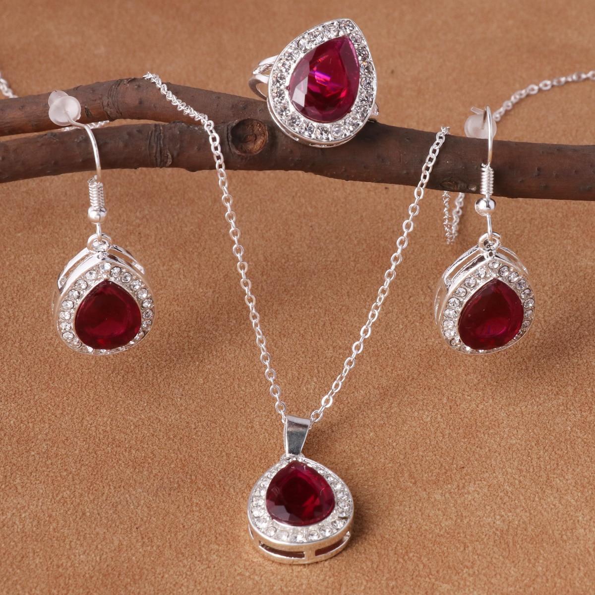 Rhinestone & Water-drop Decor Earrings & Ring & Necklace