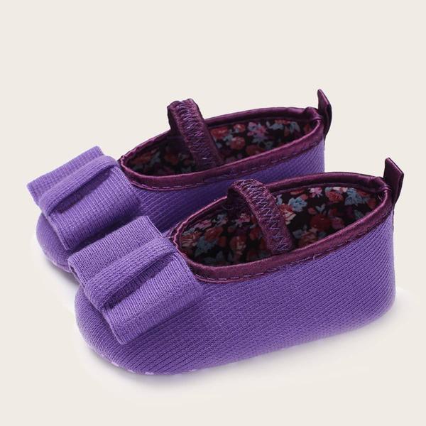 Baby Minimalist Bow Decor Slip-On Flats, Purple