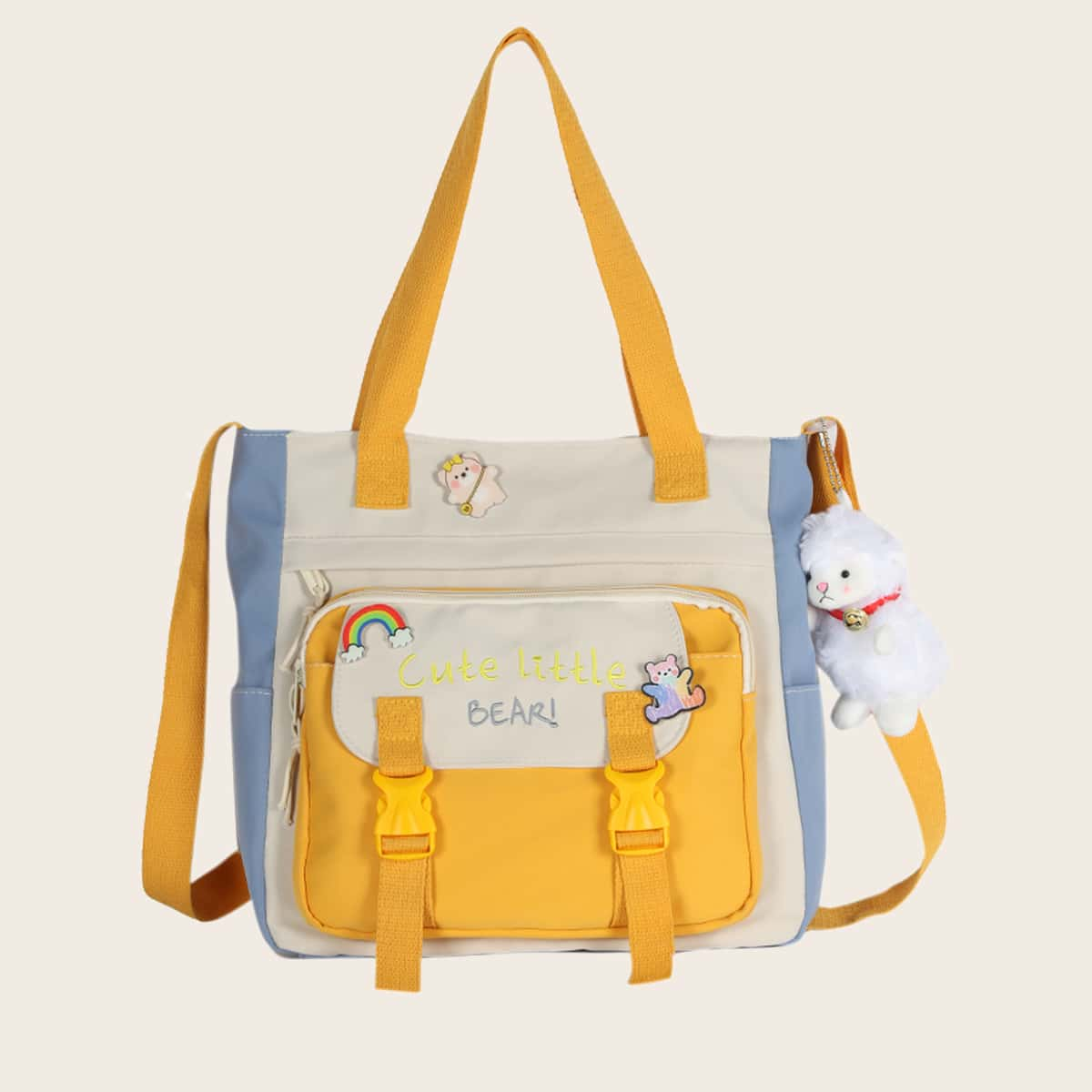 для девочек Квадратная сумка с мультипликационным декором Контрастный