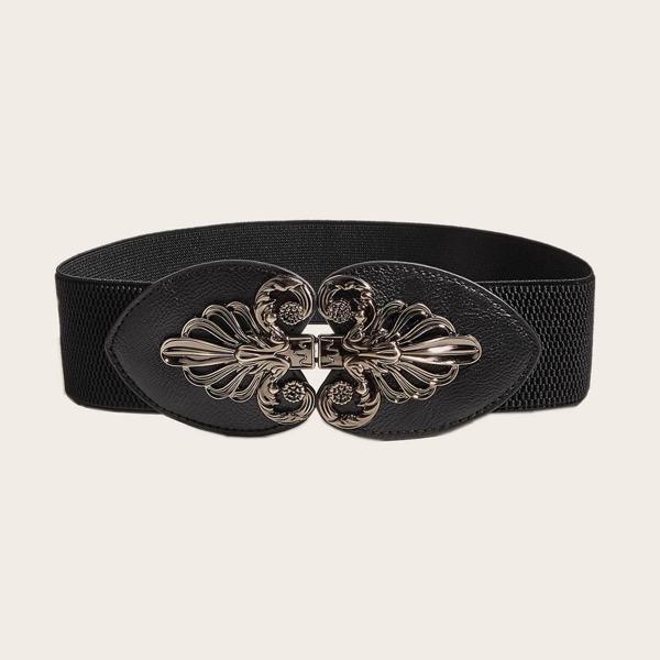 Flower Decor Corset Belt, Black